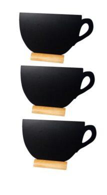 Sada 3 malých stolních tabulek ŠÁLEK s popisovačem, dřevěné stojánky(FBT-CUP-3)