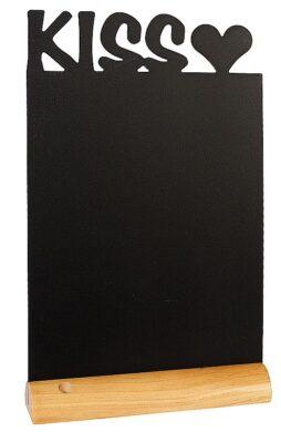 Stolní popisovací tabule KISS s popisovačem, dřevěný stojánek(FBT-KISS)