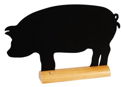 Stolní popisovací tabule PRASE s popisovačem, dřevěný stojánek(FBT-PIG)