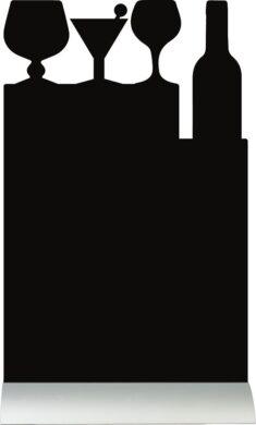 Stolní popisovací tabule KOKTEJL s popisovačem, hliníkový stojánek(FBTA-COCKTAIL)