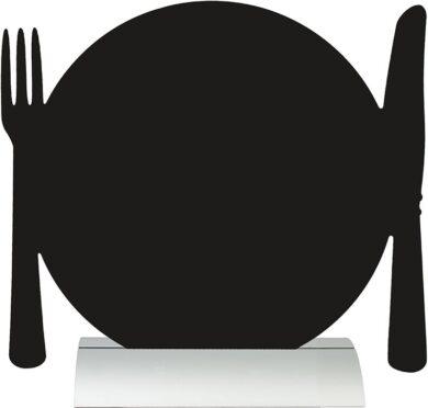 Stolní popisovací tabule TALÍŘ s popisovačem, hliníkový stojánek(FBTA-PLATE)
