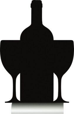 Stolní popisovací tabule LÁHEV A SKLENICE s popisovačem, hliníkový stojánek(FBTA-WINE)