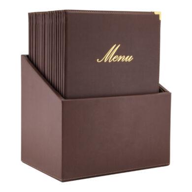 Box s jídelními lístky CLASSIC, hnědá (20 ks)(MC-BOX-CRA4-BR)