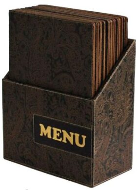 Box s jídelními lístky DESIGN, hnědý ornament (10 ks)(MC-BOX-DRA4-PAISLEY)