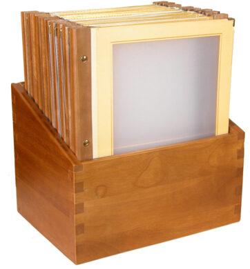 Box s jídelními lístky WOOD, slonová kost (20 ks)(MC-BOX-WRA4-BI)