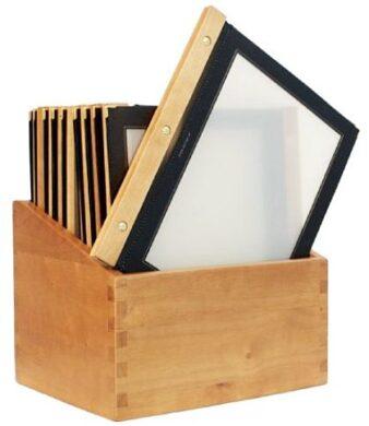 Box s jídelními lístky WOOD, černá (20 ks)(MC-BOX-WRA4-BL)