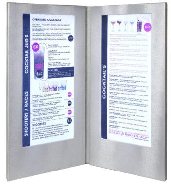 Jídelní lístek LED, osvělený, vysoký, stříbrná(MC-LD45-SL)