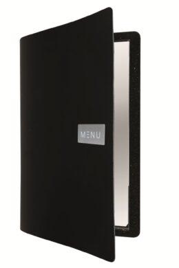 Jídelní lístek A4, hladká kůže, kovový štítek, černý(MC-LRA4-ROBL)
