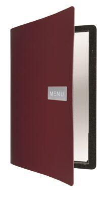 Jídelní lístek A4, hladká kůže, kovový štítek, vínově červený(MC-LRA4-RORD)