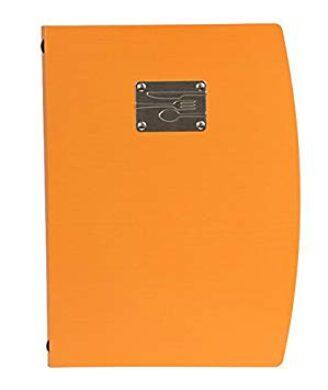 Jídelní lístek RIO A4 , oranžová , symboly příborů na štítku(MC-RCA4-OR-FK)