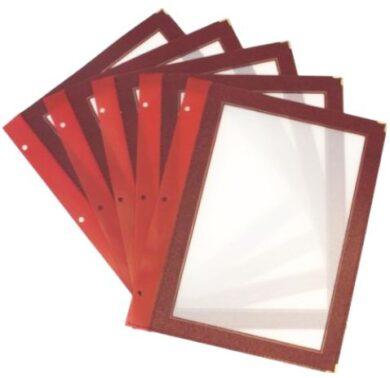 Vložky k jídelním lístkům WOOD A4, vínově červená (5 ks)(MC-WIA4-WR)