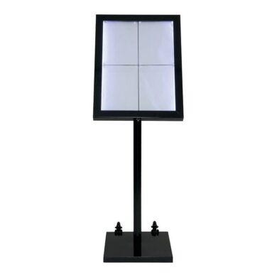 Osvětlená zasklená LED tabule 4 x A4, s postavcem a stojanem, černá(MCS-4A4-BL-SET)