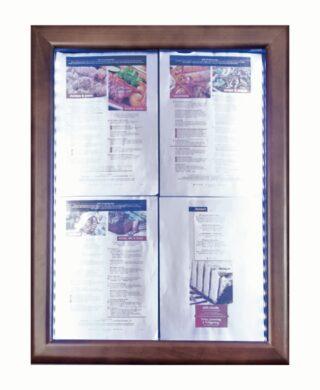 Informační zasklená tabule Dark Brown 4 x A4(MCS-4A4-WLDB)