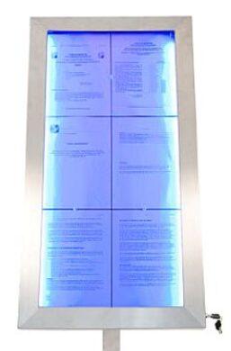 Barevně osvětlená tabule LED 6 x A4, nerezová ocel(MCS-6A4-LSS)