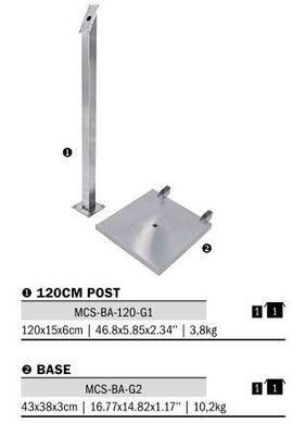 Stojan k osvětlené tabuli LED, výška 120 cm, nerezová ocel(MCS-BA-120-G1)