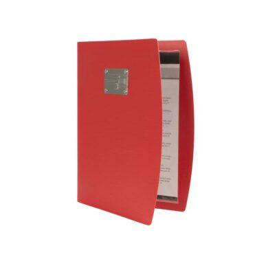 Jídelní lístek RIO A4 , červená , symboly příborů na štítku(MC_RCA4-RD-FK)