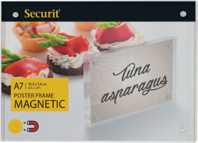 Akrylátový oboustranný A7 rámeček pro vložení plakátku se silnými magnety(PFT-MAG-A7)