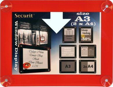 Informační rámeček na sklo A3, červený(PFW-A3-RD)