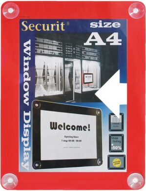 Informační rámeček na sklo A4, červený(PFW-A4-RD)