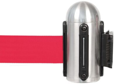 Hlavice na stěnu k natahovacímu zábr. systému, nerez, červená páska(RS-RTWM-RVS-RD)