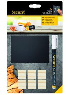 Dřevěné stojánky na tabulky TAG, 6 kusů, 6 tabulek A7 a 1 popisovač(TAG-HLD-TE)