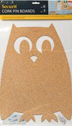 Tvarovaná korková nástěnka se 6 špendlíky. Tvar SOVA(CB-OWL)