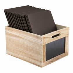 Dřevěný box s popisovacími tabulkami 21x35x28,3 cm(CR-CB)