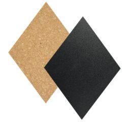 Kosočtverc.tabulky (4x popis.a 3x korek) s popisovačem, špendlíky lepící páskami