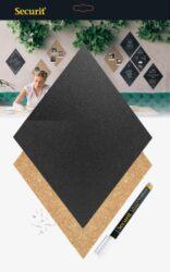 Kosočtverc.tabulky (4x popis.a 3x korek) s popisovačem, špendlíky lepící páskami(FB-CB-DIA)