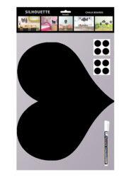 Popisovací tabule SRDCE s popisovačem a lepící páskou, černá(FB-HEART)