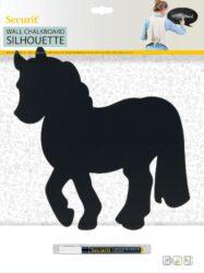 Popisovací tabule KUŇ s popisovačem a lepící páskou, černá(FB-HORSE)