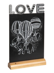 Stolní popisovací tabule LOVE s popisovačem, dřevěný stojánek(FBT-LOVE)