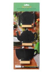 Sada 3 různých malých stolnách tabulek s popisovačem, dřevěné stojánky(FBT-MIX-3)