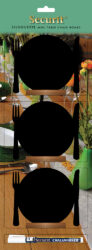 Sada 3 malých stolních tabulek TALÍŘ s popisovačem, dřevěné stojánky(FBT-PLATE-3)