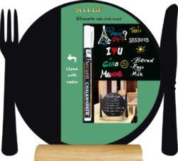 Stolní popisovací tabule TALÍŘ s popisovačem, dřevěný stojánek(FBT-PLATE)