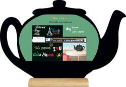 Stolní popisovací tabule KONVICE s popisovačem, dřevěný stojánek(FBT-TEAPOT)