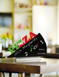 Stolní popisovací tabule PIZZA s popisovačem, hliníkový stojánek(FBTA-PIZZA)