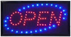 Barevná světelná LED tabule OPEN s plastovým rámem, černá