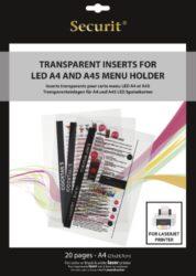 Transparentní vložky k tisku v LASEROVÉ tiskárně (20 ks)