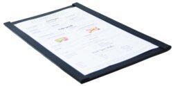 Jednoduchý jídelní lístek A4 s magnetickými úchyty po stranách, Black(MC-MGA4-BL)