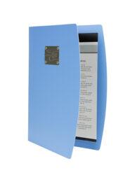 Jídelní lístek RIO A4 , modrá , symboly příborů na štítku(MC-RCA4-BU-FK)