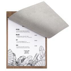 Deskový jídelní lístek A4 z ořechového dřeva s krycí chlopní a upevňovac. šrouby(MC-WALA4-SC2)