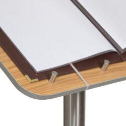 Stojan s pultem z tvrdého dřeva na uchycení jídelního lístku, s podstavcem(MCS-115-TE)