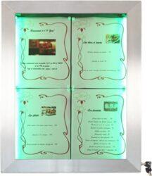 Barevně osvětlená tabule LED 4 x A4, nerezová ocel(MCS-4A4-LSS)