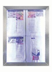 Informační zasklená tabule Stainless Steel  4 x A4 Pages