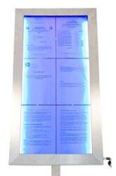 Barevně osvětlená tabule LED 6 x A4, nerezová ocel