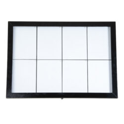 Osvětlená zasklená LED tabule 8 x A4, s postavcem a stojanem, černá