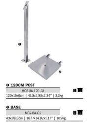 Stojan k osvětlené tabuli LED, výška 120 cm, nerezová ocel