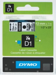 DYMO páska D1 12mm x 7m, černá na průhledné
