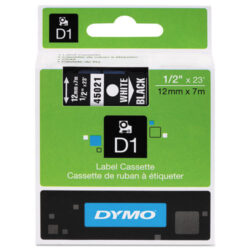 DYMO páska D1 12mm x 7m, bílá na černé